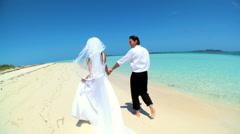 Barefoot Wedding Couple on Paradise Beach - stock footage