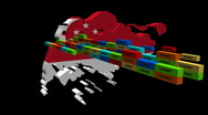 Stock Video Footage of Singapore map with stacks of containers animation