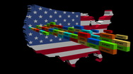 USA map with stacks of containers animation Stock Footage