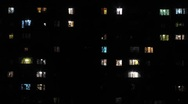 Night windows Stock Footage