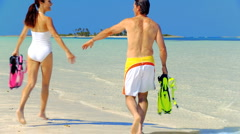 Healthy Couple in Ocean Ready for Snorkeling - stock footage