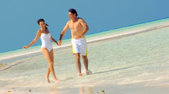 Happy Couple in Swimwear on Paradise Island Stock Footage