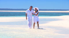 Attractive Couple on Beautiful Island Beach Stock Footage