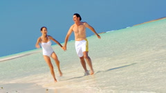 Happy Couple in Swimwear on Luxury Island Vacation Stock Footage