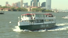 New York Harbor, the Statue of Liberty, and Circle Line Cruises Stock Footage