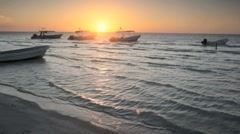 Fishing Boats at Sunset in Holbox, Mexico Stock Footage