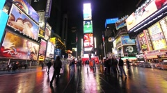 Times Square new york ny night wide neon 1080i - stock footage