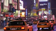 Nyc new york city pedestrians Times Square night traffic  time lapse Stock Footage