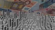 Stock Video Footage of cityscape with scrolling Euros animation
