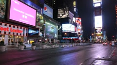 Times Square night traffic cars new york ny wide time lapse fast 1080i Stock Footage