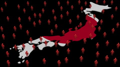 Japan map flag with many people animation Stock Footage