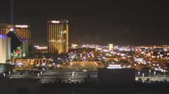 A view from high up in the Aria Las Vegas looking south at the Luxor I-15 Stock Footage