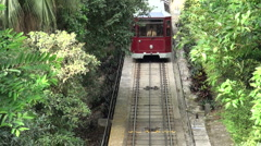 Tourist tram going to Victoria Peak, Hong Kong, travel Stock Footage