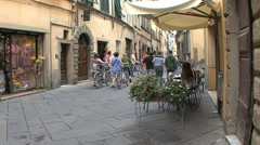 Lucca street with bikes 2 Stock Footage