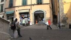 Lucca street scene with bike Stock Footage