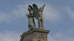 St Michael's statue on top of church Stock Footage