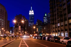New York Skyline Empire State Building Time-lapse Sunset - NTSC Stock Footage
