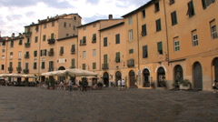 Plaza on the site of Roman amphitheater Stock Footage
