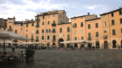 An oval plaza in Lucca Italy Stock Footage