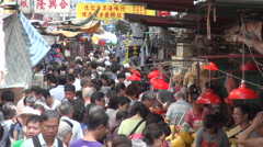 Market people busy crowded Hong Kong China food colorful - stock footage