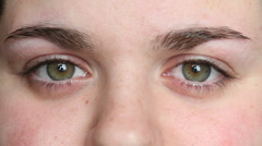 HD: Close Up of Young Woman Eyes Stock Footage