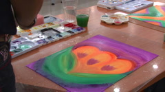Painting A Beautiful Picture During Art Therapy - stock footage