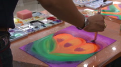 Brush Strokes During Art Therapy - stock footage