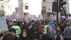 Protesters meet Police in Parliament Square Stock Footage