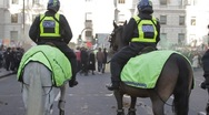 Two Police on Horseback Stock Footage