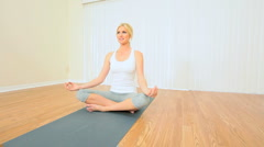Young Blonde Girl in Yoga Class Stock Footage