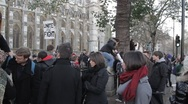 Protesters at Westminster Abbey Stock Footage