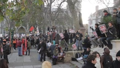 Protesters in Parliament Square Stock Footage