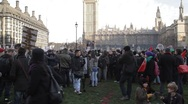 Protesters in front of Big Ben 2 Stock Footage