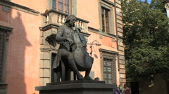 Lucca man with cello Stock Footage