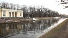 Rossi pavilion on the river bank in Saint-Petersburg Stock Footage