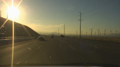 Windmill power generators near Palm Springs vehicle shot  I-10 east bound - 12 Stock Footage