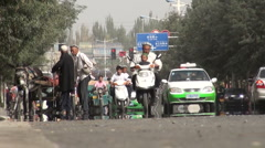 Central Asian traffic includes donkey cart Stock Footage
