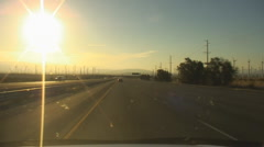 Windmill power generators near Palm Springs vehicle shot  I-10 east bound - 20 Stock Footage