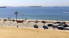 Beach Parking Lot and Ocean- Long Beach, CA Stock Footage