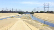 Stock Video Footage of Los Angeles San Gabriel Urban River Vista 3