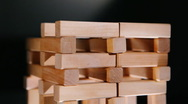 Construction the house of wooden bricks timelapse Stock Footage