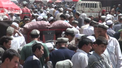 China, old and new caught in one shot, farmers market and Coca Cola advertising Stock Footage