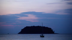 Red Clouds after Sunset, Kata Beach in Phuket Island,  Amazing Thailand Stock Footage