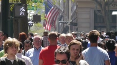 Crowd People Walk 720P 24P Slow Motion NY City Street Stock Footage
