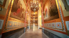 Walls and ceiling in passage  in Christ the Savior Cathedral Stock Footage