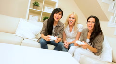 Girls Night In Playing Electronic Games - stock footage