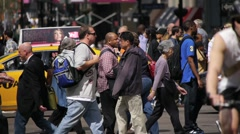 Intersection Crowd People Walk 1080P Native 24P  NY New York City Stock Footage
