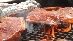 Meat, cooked using a grill. (1) Stock Footage