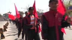 Nepal: Demonstrators march in Kathmandu Stock Footage
