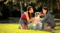 Young Mother & Daughter Bathing Family Bulldog Stock Footage